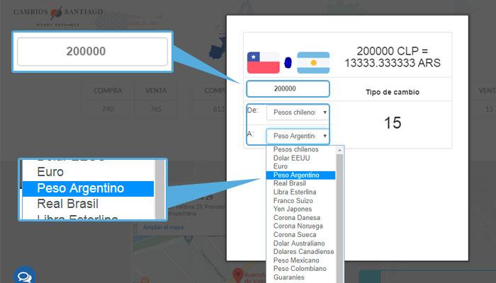cambiar pesos chilenos a pesos argentinos