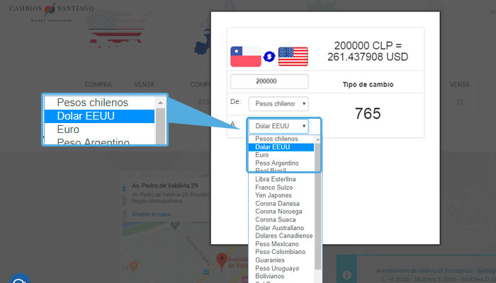 cambiar pesos chilenos a dólares