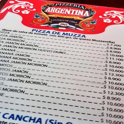 la argentina pizzería carta